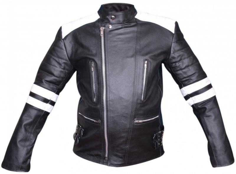 Motorcycle jacket Oldschool Retro leather jacket made from cowhide jacket black / white